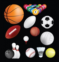 sports balls on black vector image vector image