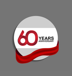 60 years anniversary design in circle red ribbon vector