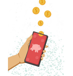 a female hand holds a phone and falling money vector image