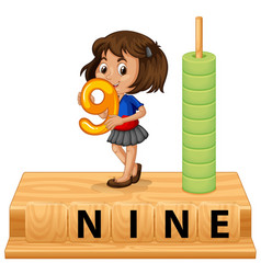 a girl holding number nine vector image