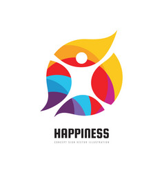 active happiness - concept business logo template vector image