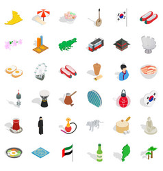 Asian landmark icons set isometric style vector