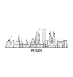 barcelona skyline spain city buildings vector image