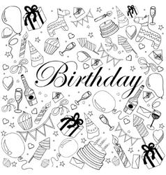 Birthday coloring book vector image