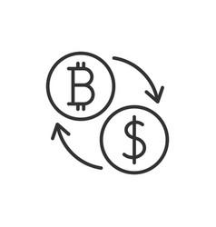 bitcoin to dollar exchange icon vector image