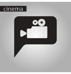 black and white style icon cinema camera vector image