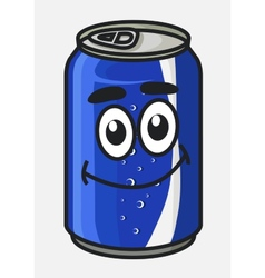 Blue cartoon soda or soft drink can vector image