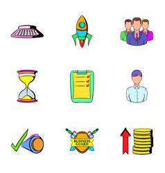 business card icons set cartoon style vector image vector image