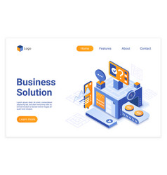 business solution isometric landing page vector image
