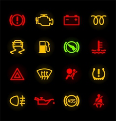 Car dashboard icons vector image