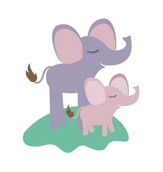 Cartoon elephant mom and calf over grass in vector