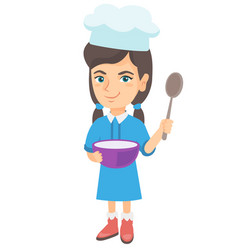 caucasian girl holding a saucepan and a spoon vector image