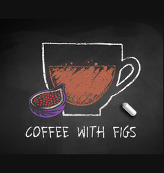 chalked sketch coffee with figs vector image