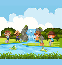 Children fishing in outdoor scene vector