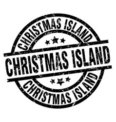 Christmas island black round grunge stamp vector