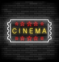 cinema light neon sign on brick background movie vector image