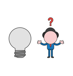 confused businessman character with light bulb vector image