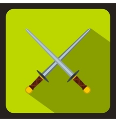 Crossed swords icon flat style vector