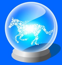 Crystal ball of lucky horse vector