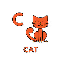 cute cartoon animals alphabet cat vector image