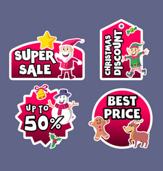 cute christmas sale label vector image