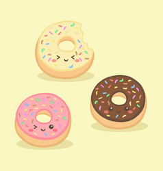 cute donuts doughnut cartoon vector image