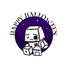 Cute evil rabbit halloween woodoo sewing toy vector