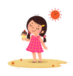 Cute little girl feeling happy with her ice cream vector