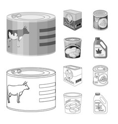 design of can and food sign collection of vector image