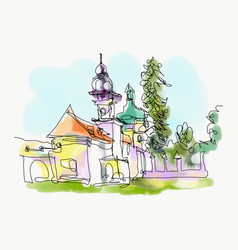 Digital watercolor painting of little church in vector