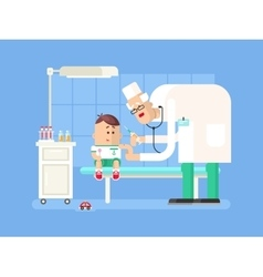 Doctor doing child vaccination vector