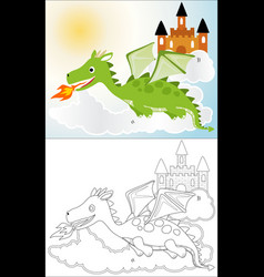 dragon cartoon with a castle in sky coloring book vector image