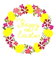 easter wreath with eggs and flowers vector image