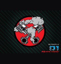engine shoulder car piston racing car logo vector image
