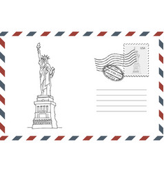 envelope with hand drawn statue liberty vector image