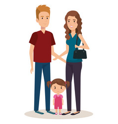 father and mother with daughter vector image