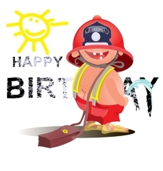 Firefighter with a hose sign Great for any fire vector image