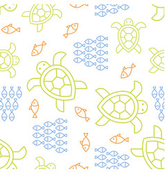 fish turtle seamless summer theme outline pattern vector image