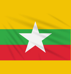Flag myanmar swaying in the wind realistic vector