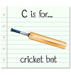 Flashcard letter C is for cricket bat vector image