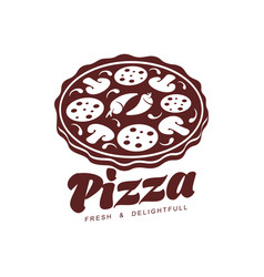 flat pizza icon pictogram isolated vector image