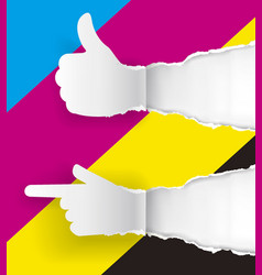 gesturing paper hands ripped paper with print col vector image