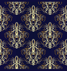 gold baroque seamless pattern royal ornate blue vector image