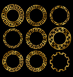 Golden ancient greek round frame ornament set vector