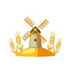 grain mill with ripe wheat ears vector image