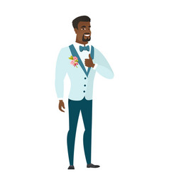 Groom giving thumb up vector