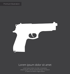gun premium icon white on dark background vector image