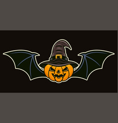 halloween pumpkin in witch hat and with wings vector image