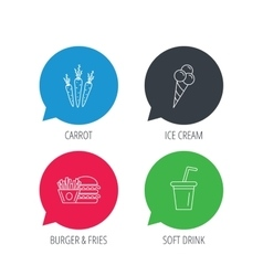 Hamburger carrot and soft drink icons vector