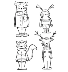 Hand drawn animals in clothes vector